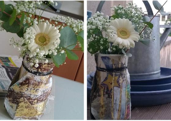 Vase en papier décoré
